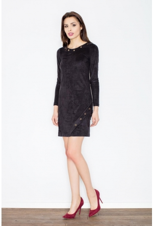 Czarna Casualowa Sukienka z Imitacji Zamszu z Metalowymi Kółkami