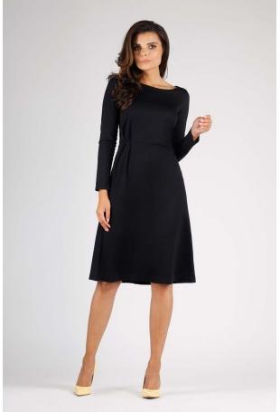 Czarna Elegancka Sukienka do Kolana z Dekoracyjnym Marszczeniem