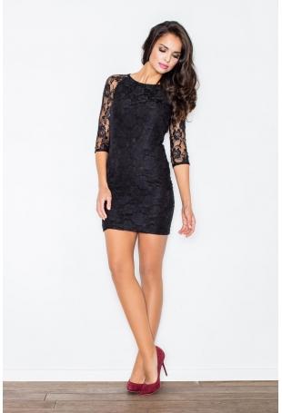 Czarna Modna Zmysłowa Koronkowa Sukienka