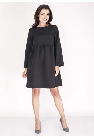 Czarna Sukienka z Falbanką w Talii