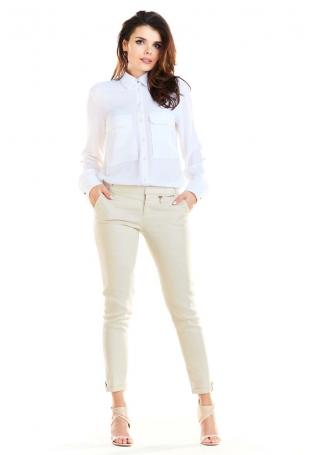 Biała Koszula z Kieszeniami Typu Kargo