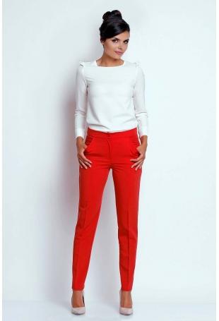 Czerwone Eleganckie Spodnie Cygaretki