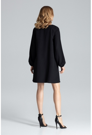 Czarna Sukienka Trapezowa z Długim Rękawem
