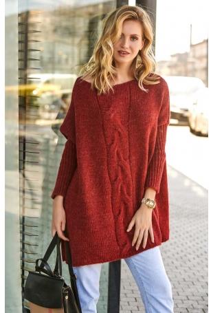 Luźny Sweter z Warkoczem na Przodzie - Kamelowy
