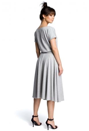 Szara Midi Sukienka z Szerokim Dołem