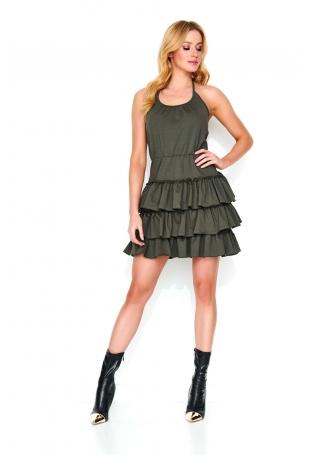 Khaki Krótka Sukienka Wiązana na Szyi ze Stopniowanymi Falbankami