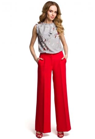 Eleganckie Szerokie Czerwone Spodnie w Kant