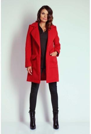 Czerwony Szykowny Płaszcz bez Zapięcia z Wiązanym Paskiem