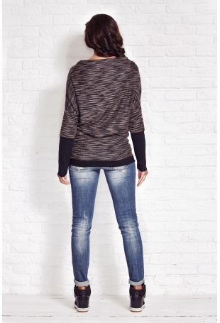 Beżowy Melanżowy Sweter z Szerokimi Mankietami