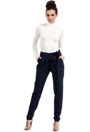 Granatowe Spodnie z Wiązanym Paskiem