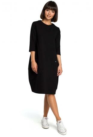 Czarna Luźna Sukienka Bombka z Ozdobnymi Przeszyciami