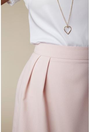 Różowa Pastelowa Rozkloszowana Spódnica Mini