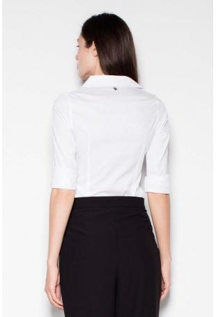 Biała Koszula Damska Klasyczna Taliowana
