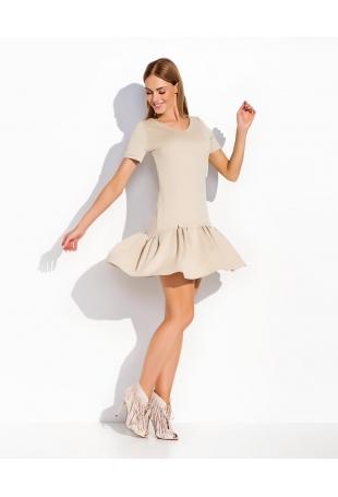 Beżowa Melanż Skromna Letnia Sukienka Mini z Falbanką