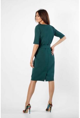 Zielona Prosta Sukienka z Paskiem z Metalową Klamrą