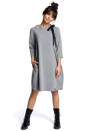 Szara Luźna Sukienka z Wiązaniem przy Dekolcie