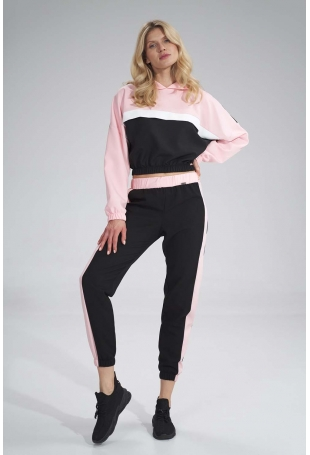 Sportowe Spodnie z Kolorowym Lampasem - Czarno-Różowe