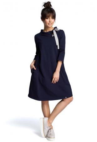 Granatowa Luźna Sukienka z Wiązaniem przy Dekolcie