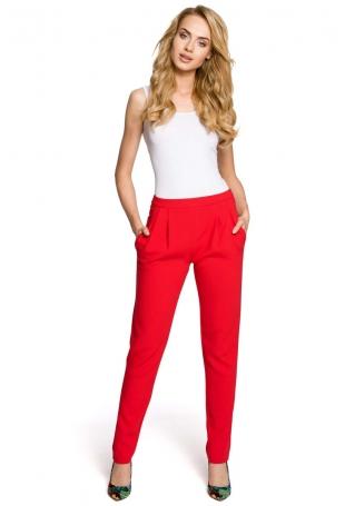 Czerwone Stylowe Spodnie Chino z Kieszeniami