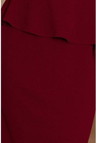 Elegancka Ołówkowa Sukienka Midi z Asymetryczną Baskinką - Bordowa