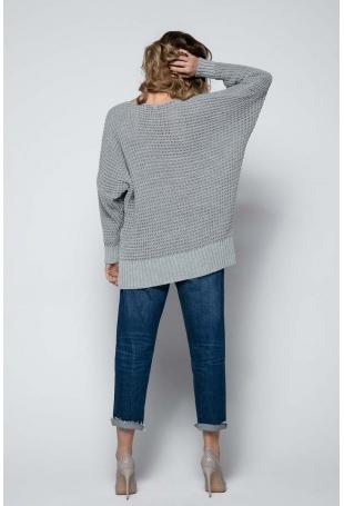 Szary Oversizowy Sweter z Dekoltem V