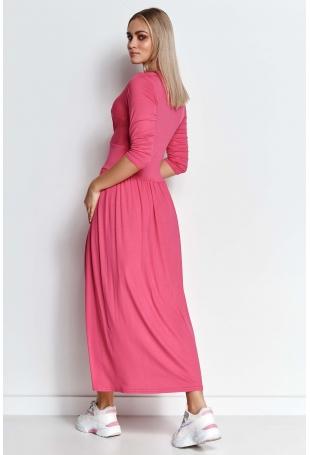 Długa Wiskozowa Sukienka o Kopertowym Dekolcie - Amarantowa