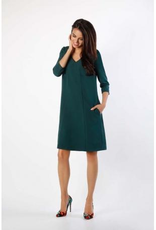 Zielona Trapezowa Sukienka w Serek z Kieszeniami