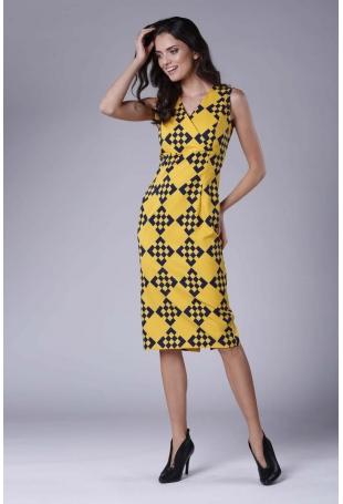 Ołówkowa Sukienka Midi bez Rękawów z Kopertowym Dekoltem