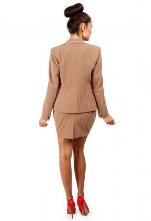 Kamelowa Szykowna Spódnica Mini z Kieszeniami