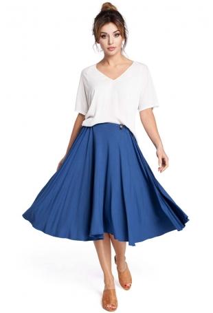 Niebieska Spódnica Rozkloszowana za Kolano