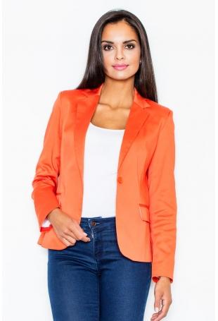 Pomarańczowy Elegancki Żakiet o Klasycznym Kroju