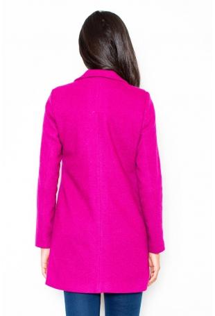 Różowy Krótki Taliowany Płaszcz z Asymetrycznym Zamkiem
