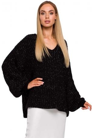 Czarny Sweter Oversize z Dekoltem w Serek z Połyskującej Przędzy