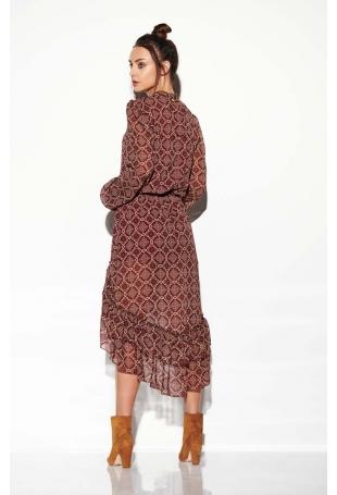 Zwiewna Sukienka Asymetryczna Z Falbankami we Wzory Druk 7
