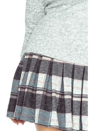 Szara Sukienka z Plisowanym Dołem w Szkocką Niebieską Kratę