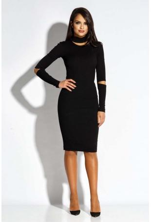 Czarna Sukienka Ołówkowa z Wycięciami