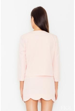 Elegancki Różowy Komplet Spódnica + Żakiet