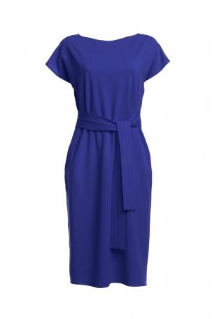 Niebieska Prosta Midi Sukienka z Wiązanym Paskiem