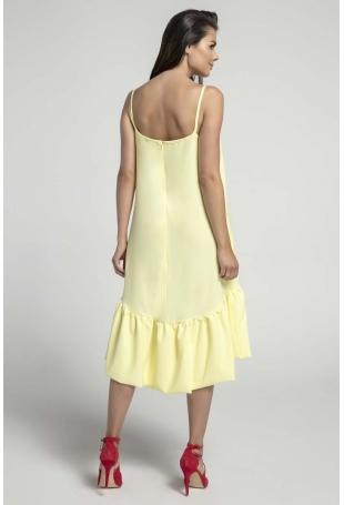 Żółta Zwiewna Sukienka z Asymetryczną Falbanką na Cienkich Ramiączkach