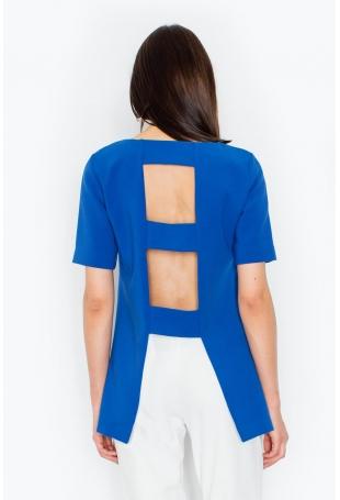 Niebieska Stylowa Bluzka z Wycięciami na Plecach