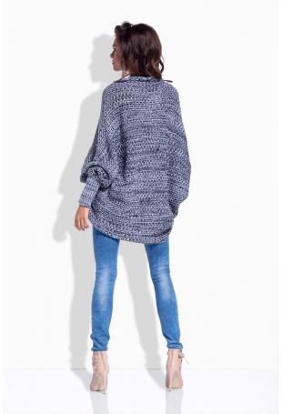 Czarny Sweter Luźny bez Zapięcia