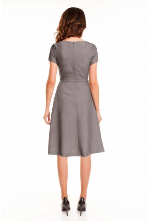 Szara Sukienka Rozkloszowana Midi z Krótkim Rękawem