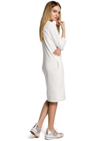 Sukienka Codzienna Dzianinowa z Dekoltem w Szpic - Ecru