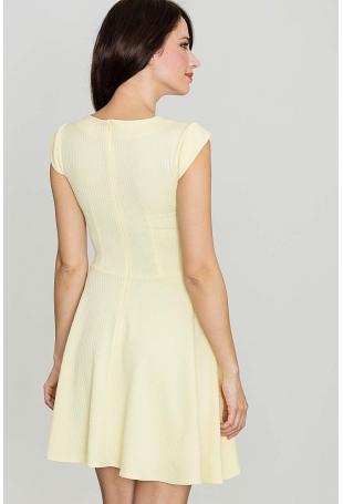 Żółta Rozkloszowana Sukienka z Zakładkami
