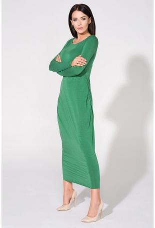Zielona Sukienka Dzianinowa Maxi Drapowana na Boku