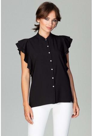 Czarna Koszulowa Bluzka z Falbankowym Rękawem