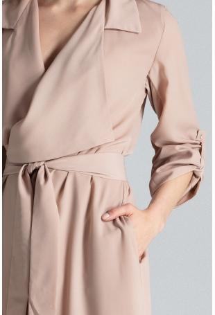 Szlafrokowa Beżowa Sukienka z Podpinanym Rękawem