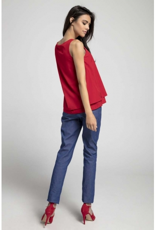 Czerwona Zwiewna Dwuwarstwowa Bluzka bez Rękawów