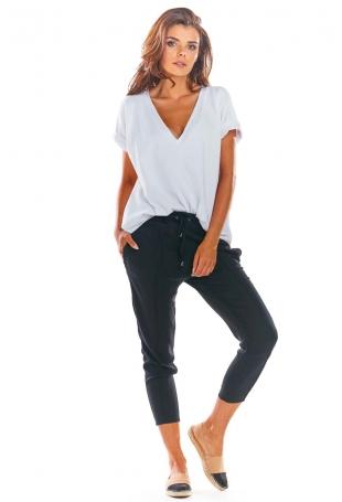 Czarne Stylowe Spodnie z Troczkami