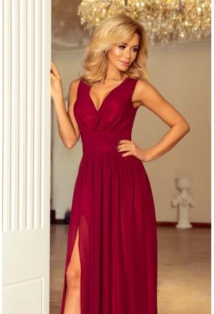 Bordowa Sukienka Wieczorowa Maxi z Dekoltem V